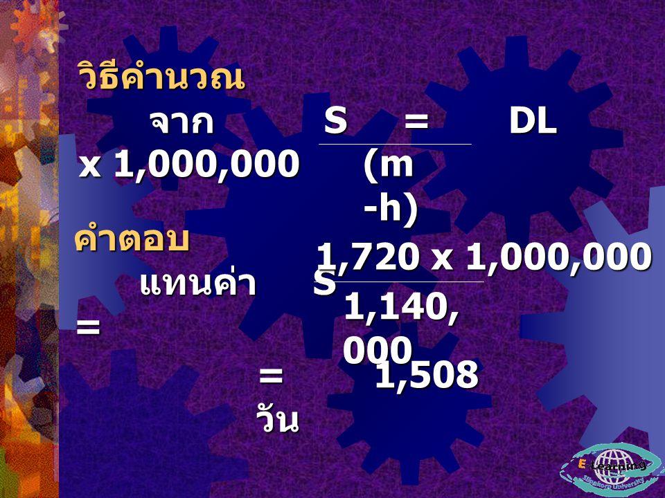 (m -h) คำตอบ แทนค่า S = แทนค่า S = 1,140, 000 = 1,508 วัน 1,720 x 1,000,000 วิธีคำนวณ จาก S = DL x 1,000,000