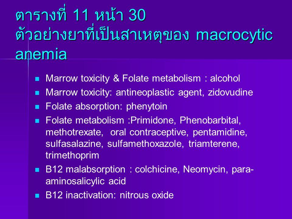 ตารางที่ 11 หน้า 30 ตัวอย่างยาที่เป็นสาเหตุของ macrocytic anemia Marrow toxicity & Folate metabolism : alcohol Marrow toxicity: antineoplastic agent,