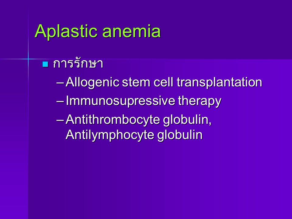Aplastic anemia การรักษา การรักษา –Allogenic stem cell transplantation –Immunosupressive therapy –Antithrombocyte globulin, Antilymphocyte globulin