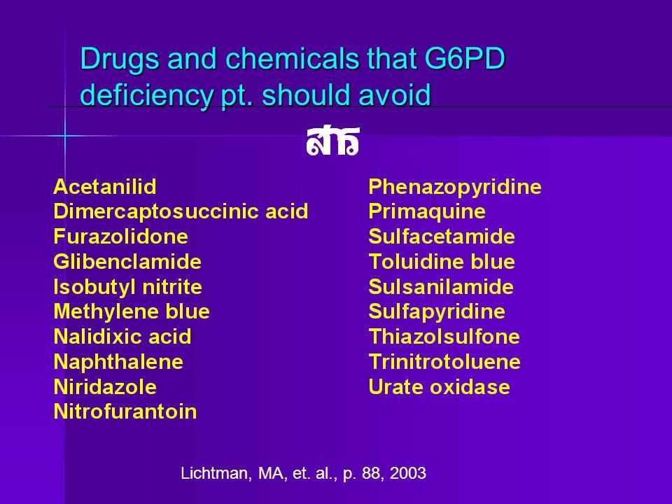 Drugs and chemicals that G6PD deficiency pt. should avoid Lichtman, MA, et. al., p. 88, 2003