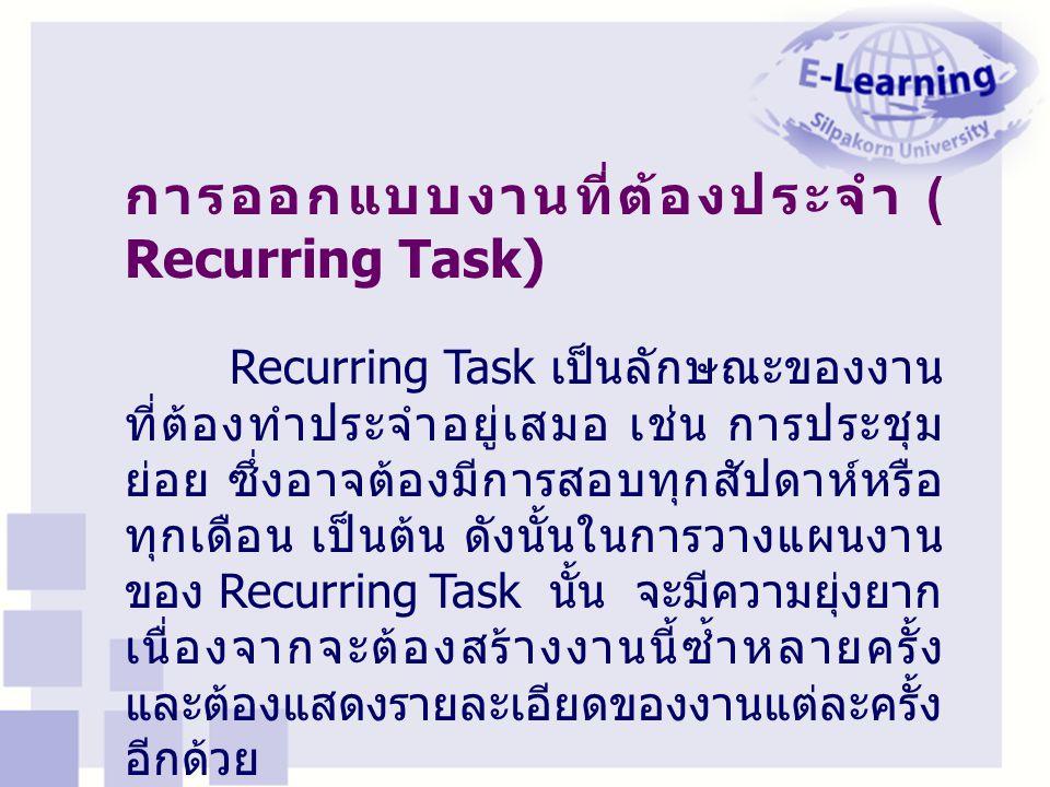 การออกแบบงานที่ต้องประจำ ( Recurring Task) Recurring Task เป็นลักษณะของงาน ที่ต้องทำประจำอยู่เสมอ เช่น การประชุม ย่อย ซึ่งอาจต้องมีการสอบทุกสัปดาห์หรื