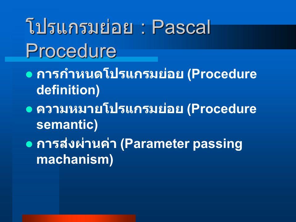 โปรแกรมย่อย : Pascal Procedure การกำหนดโปรแกรมย่อย (Procedure definition) ความหมายโปรแกรมย่อย (Procedure semantic) การส่งผ่านค่า (Parameter passing machanism)