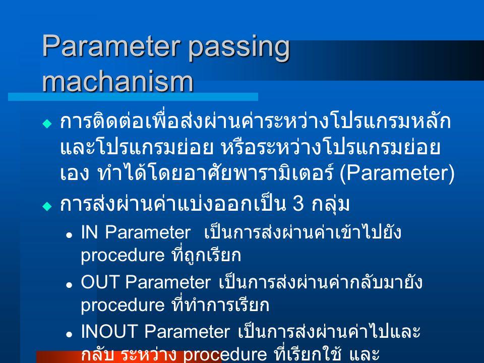  การติดต่อเพื่อส่งผ่านค่าระหว่างโปรแกรมหลัก และโปรแกรมย่อย หรือระหว่างโปรแกรมย่อย เอง ทำได้โดยอาศัยพารามิเตอร์ (Parameter)  การส่งผ่านค่าแบ่งออกเป็น 3 กลุ่ม IN Parameter เป็นการส่งผ่านค่าเข้าไปยัง procedure ที่ถูกเรียก OUT Parameter เป็นการส่งผ่านค่ากลับมายัง procedure ที่ทำการเรียก INOUT Parameter เป็นการส่งผ่านค่าไปและ กลับ ระหว่าง procedure ที่เรียกใช้ และ procedure ที่ถูกเรียก Parameter passing machanism