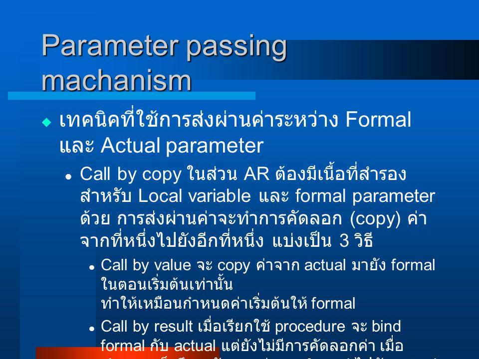 Parameter passing machanism  เทคนิคที่ใช้การส่งผ่านค่าระหว่าง Formal และ Actual parameter Call by copy ในส่วน AR ต้องมีเนื้อที่สำรอง สำหรับ Local variable และ formal parameter ด้วย การส่งผ่านค่าจะทำการคัดลอก (copy) ค่า จากที่หนึ่งไปยังอีกที่หนึ่ง แบ่งเป็น 3 วิธี Call by value จะ copy ค่าจาก actual มายัง formal ในตอนเริ่มต้นเท่านั้น ทำให้เหมือนกำหนดค่าเริ่มต้นให้ formal Call by result เมื่อเรียกใช้ procedure จะ bind formal กับ actual แต่ยังไม่มีการคัดลอกค่า เมื่อ ทำงานเสร็จจึงจะคัดลอกค่าจาก formal ไปยัง actual Call by value-result เมื่อ bind แล้วจะส่งค่าจาก actual ไปยัง formal แล้วเริ่มทำงานจบเสร็จ ก็ส่งค่า กลับจาก formal ไปยัง actual ด้วย