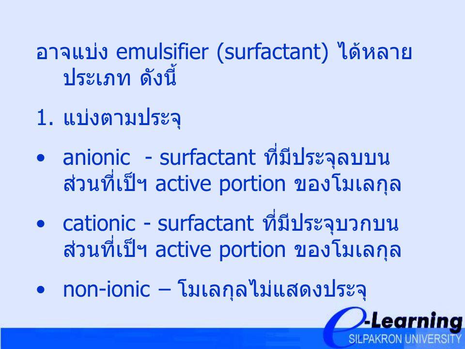 อาจแบ่ง emulsifier (surfactant) ได้หลาย ประเภท ดังนี้ 1. แบ่งตามประจุ anionic - surfactant ที่มีประจุลบบน ส่วนที่เป็ฯ active portion ของโมเลกุล cation