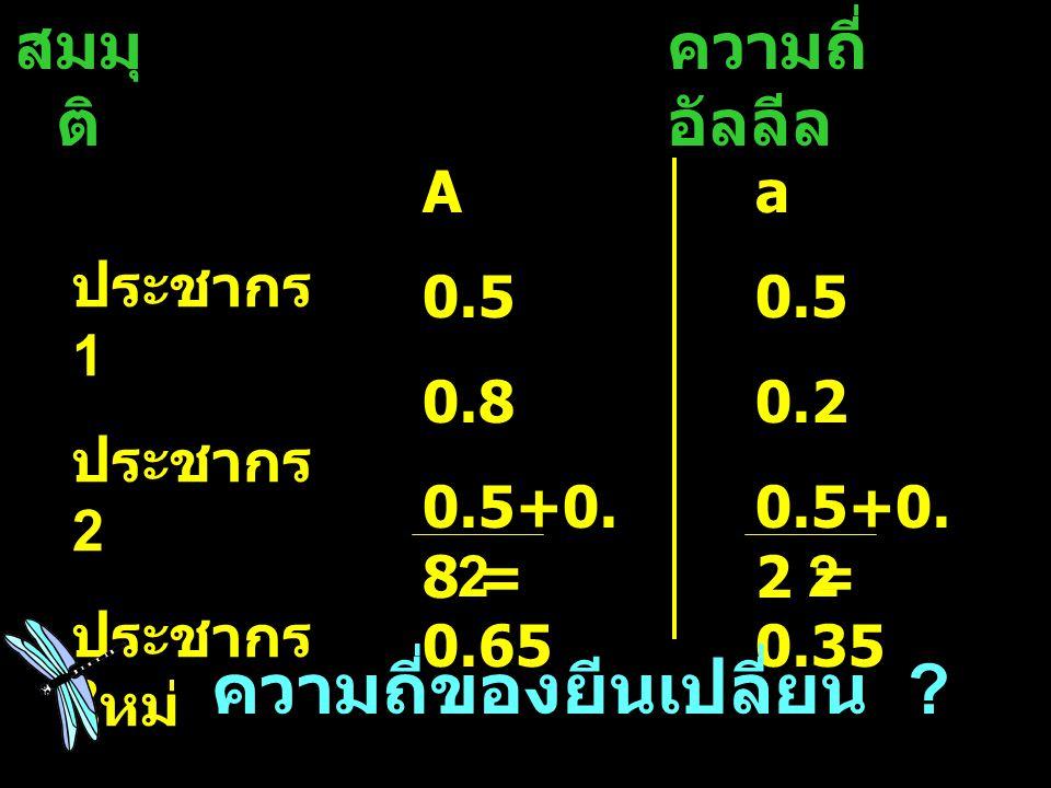 สมมุ ติ ความถี่ อัลลีล ประชากร 1 ประชากร 2 ประชากร ใหม่ A 0.5 0.8 0.5+0. 8 = 0.65 a 0.5 0.2 0.5+0. 2 = 0.35 22 ความถี่ของยีนเปลี่ยน ?