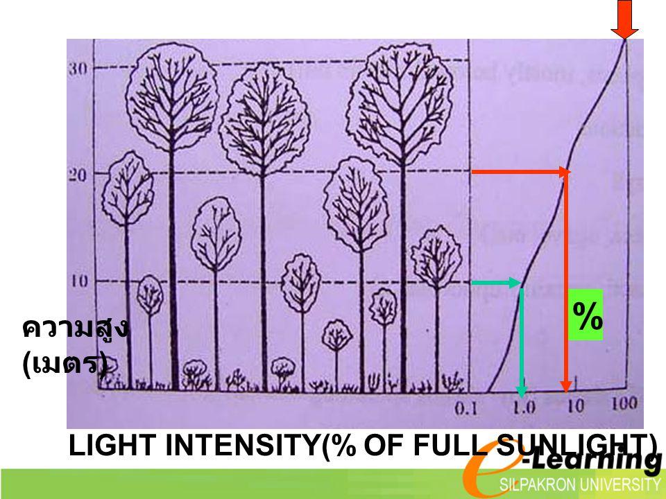 LIGHT INTENSITY(% OF FULL SUNLIGHT) ความสูง ( เมตร ) %