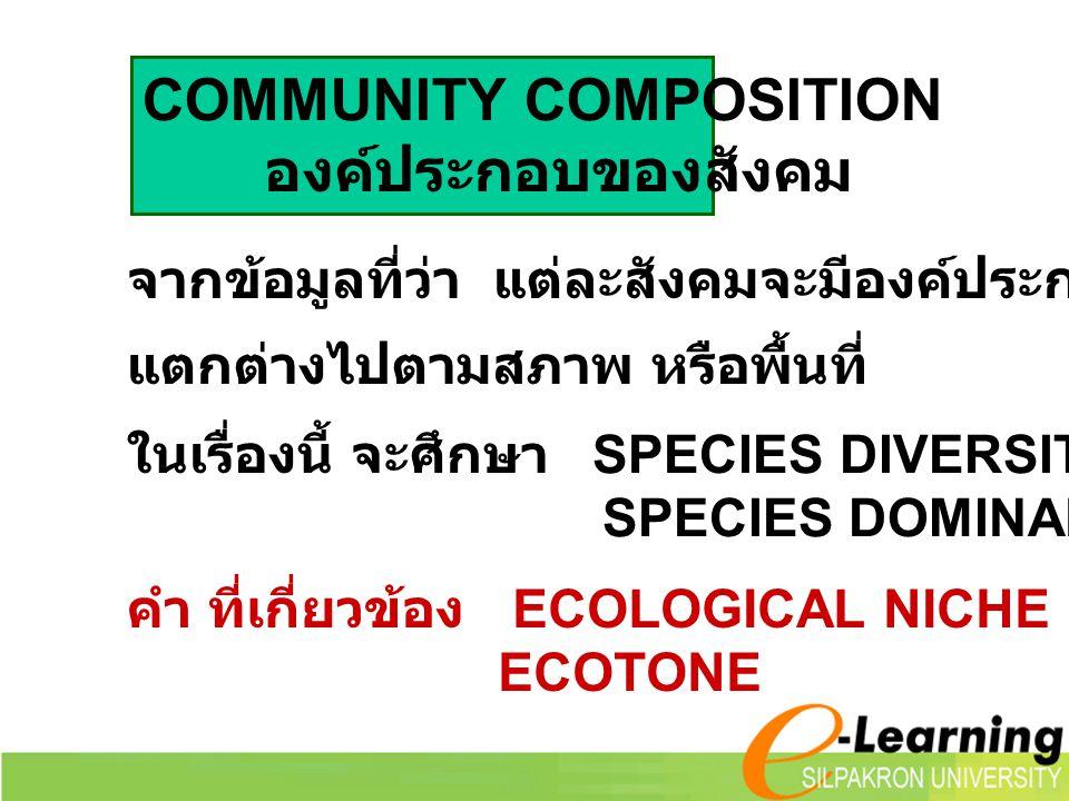 COMMUNITY COMPOSITION องค์ประกอบของสังคม จากข้อมูลที่ว่า แต่ละสังคมจะมีองค์ประกอบที่ค่อนข้างแน่นอน แตกต่างไปตามสภาพ หรือพื้นที่ ในเรื่องนี้ จะศึกษา SP