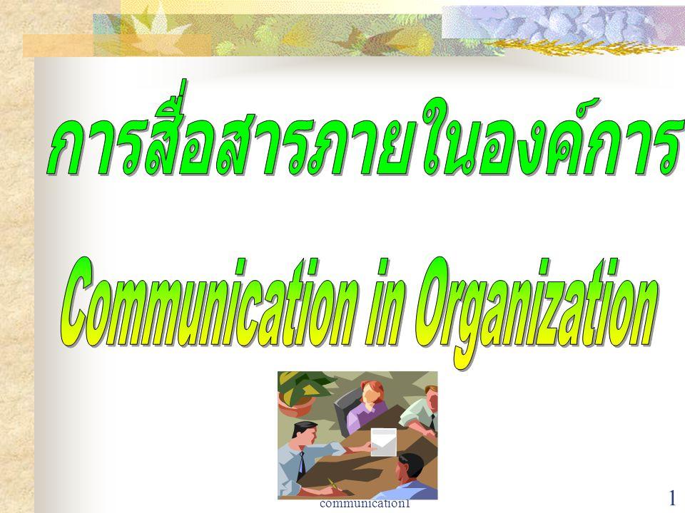 2 การสื่อสารภายใน องค์การ ความหมาย  พฤติกรรมใด ๆ ของแต่ละบุคคลที่ ก่อให้เกิดความหมาย  กระบวนการที่เกี่ยวกับการส่งและ รับสัญลักษณ์ที่ก่อให้เกิด ความหมายขึ้นในใจของ ผู้เกี่ยวข้อง  ปฏิกิริยาระหว่างกันทางสังคมโดย อาศัยระบบสัญลักษณ์และข่าวสาร