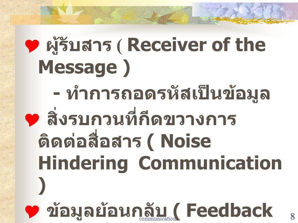 communication1 8  ผู้รับสาร ( Receiver of the Message ) - ทำการถอดรหัสเป็นข้อมูล  สิ่งรบกวนที่กีดขวางการ ติดต่อสื่อสาร ( Noise Hindering Communicati