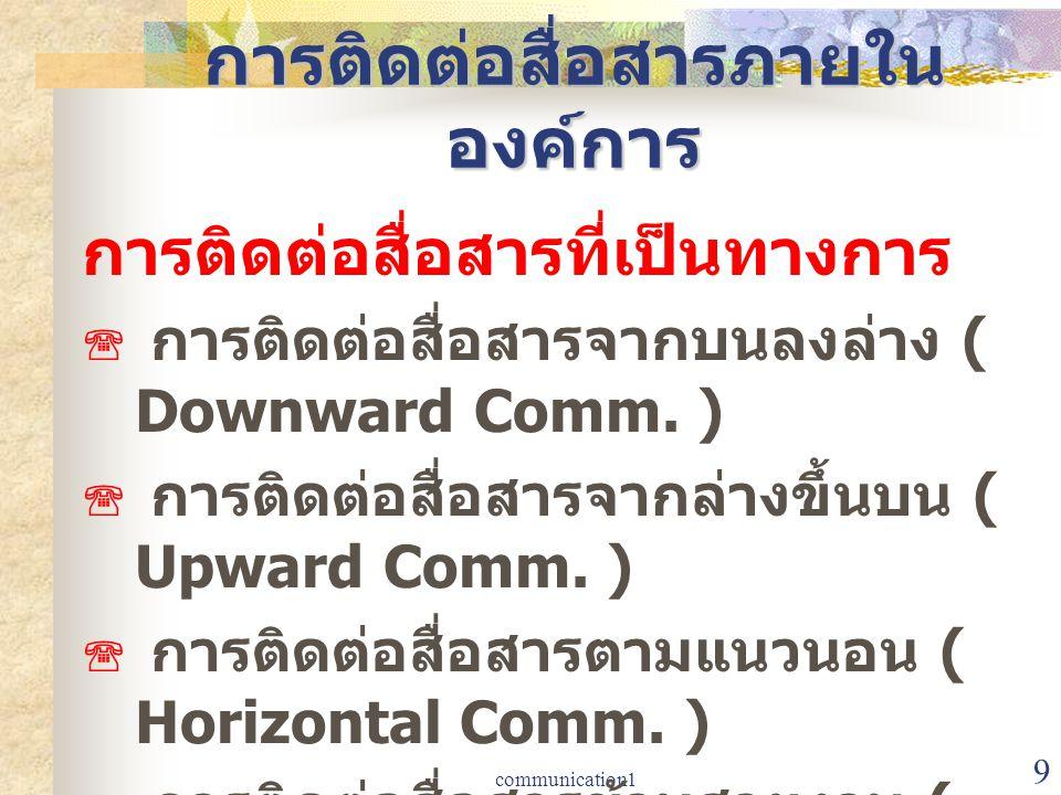 communication1 9 การติดต่อสื่อสารภายใน องค์การ การติดต่อสื่อสารที่เป็นทางการ  การติดต่อสื่อสารจากบนลงล่าง ( Downward Comm. )  การติดต่อสื่อสารจากล่า
