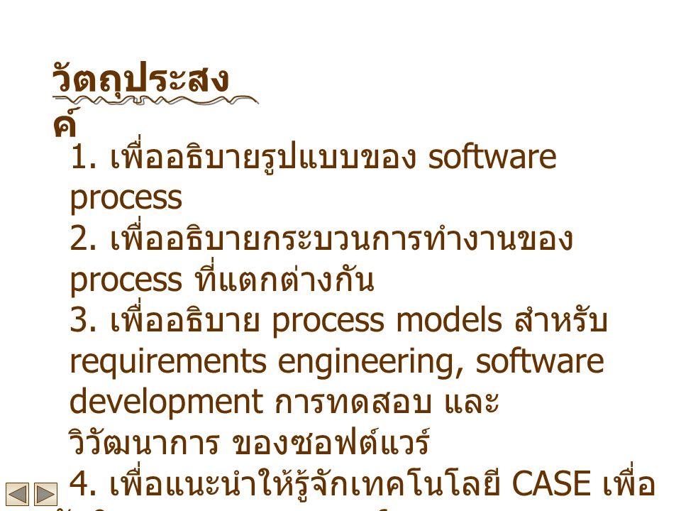 1.เพื่ออธิบายรูปแบบของ software process 2. เพื่ออธิบายกระบวนการทำงานของ process ที่แตกต่างกัน 3.