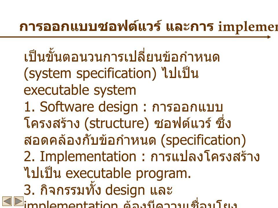 การออกแบบซอฟต์แวร์ และการ implementation เป็นขั้นตอนวนการเปลี่ยนข้อกำหนด (system specification) ไปเป็น executable system 1.