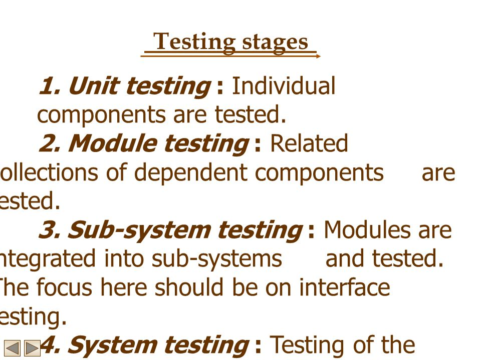 Testing stages 1. Unit testing : Individual components are tested. 2. Module testing : Related collections of dependent components are tested. 3. Sub-