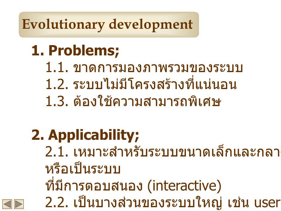 1.Problems; 1.1. ขาดการมองภาพรวมของระบบ 1.2. ระบบไม่มีโครงสร้างที่แน่นอน 1.3.