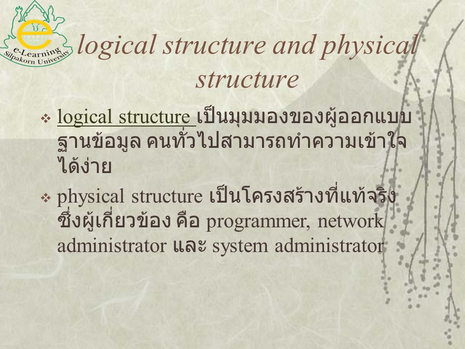 logical structure and physical structure  logical structure เป็นมุมมองของผู้ออกแบบ ฐานข้อมูล คนทั่วไปสามารถทำความเข้าใจ ได้ง่าย logical structure  p