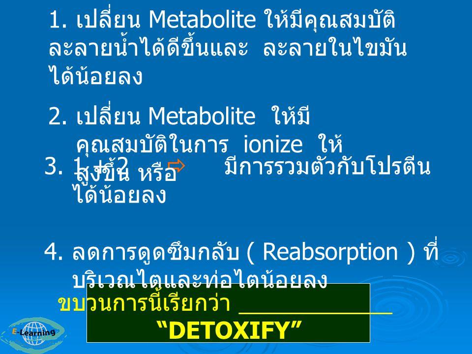 Lethal Synthesis : สารถูกเปลี่ยนแปลงไปเป็นสารพิษเพิ่มมาก ขึ้น หรือมีอันตรายต่อร่างกายมากขึ้น เช่น 1.