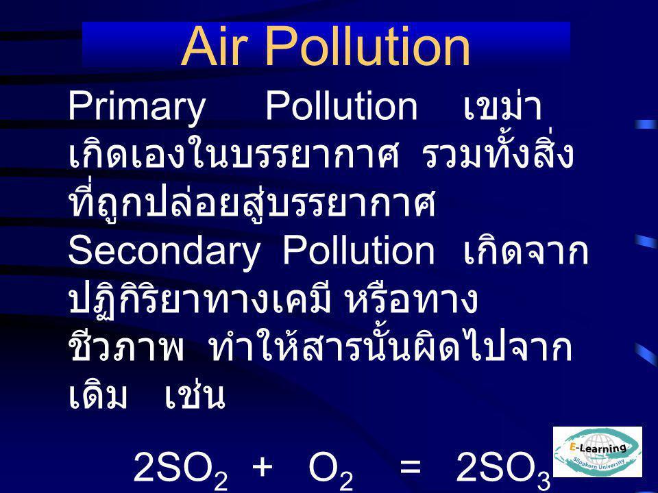 PrimaryPollution เขม่า เกิดเองในบรรยากาศ รวมทั้งสิ่ง ที่ถูกปล่อยสู่บรรยากาศ Secondary Pollution เกิดจาก ปฏิกิริยาทางเคมี หรือทาง ชีวภาพ ทำให้สารนั้นผิ