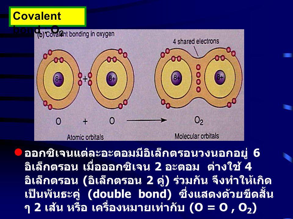 Covalent bond : O 2 ออกซิเจนแต่ละอะตอมมีอิเล็กตรอนวงนอกอยู่ 6 อิเล็กตรอน เมื่อออกซิเจน 2 อะตอม ต่างใช้ 4 อิเล็กตรอน ( อิเล็กตรอน 2 คู่ ) ร่วมกัน จึงทำ