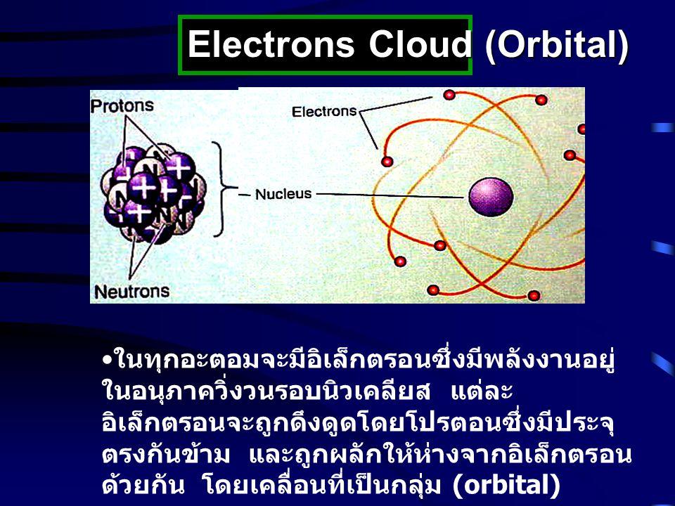 Electrons Cloud (Orbital) ในทุกอะตอมจะมีอิเล็กตรอนซึ่งมีพลังงานอยู่ ในอนุภาควิ่งวนรอบนิวเคลียส แต่ละ อิเล็กตรอนจะถูกดึงดูดโดยโปรตอนซึ่งมีประจุ ตรงกันข