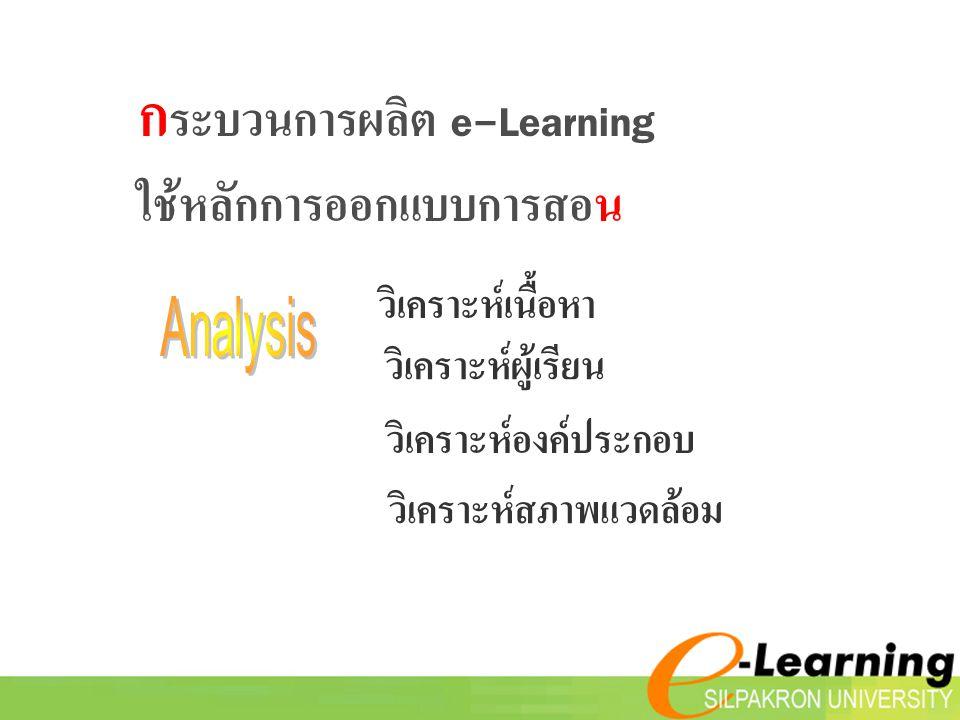 ก ระบวนการผลิต e-Learning ใช้หลักการออกแบบการสอน วิเคราะห์เนื้อหา วิเคราะห์ผู้เรียน วิเคราะห์องค์ประกอบ วิเคราะห์สภาพแวดล้อม
