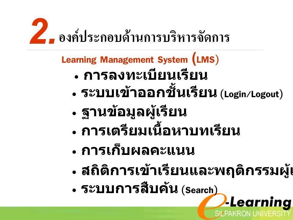 Learning Management System (LMS) องค์ประกอบด้านการบริหารจัดการ 2.
