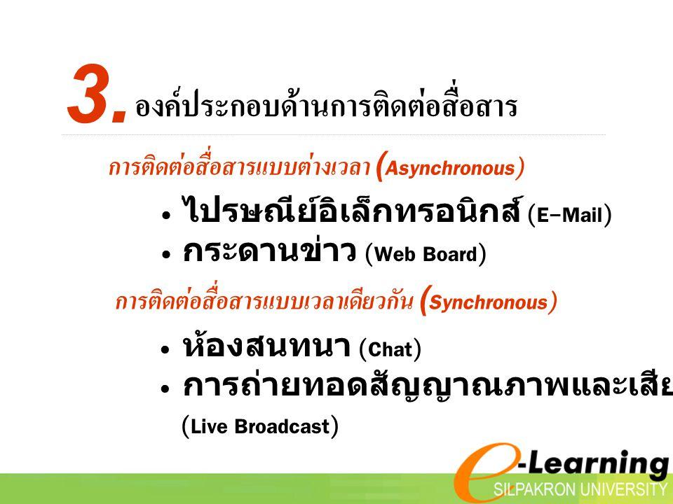 ห้องสนทนา (Chat) การถ่ายทอดสัญญาณภาพและเสียงสด (Live Broadcast) การติดต่อสื่อสารแบบต่างเวลา (Asynchronous) ไปรษณีย์อิเล็กทรอนิกส์ (E-Mail) กระดานข่าว (Web Board) การติดต่อสื่อสารแบบเวลาเดียวกัน (Synchronous) องค์ประกอบด้านการติดต่อสื่อสาร 3.
