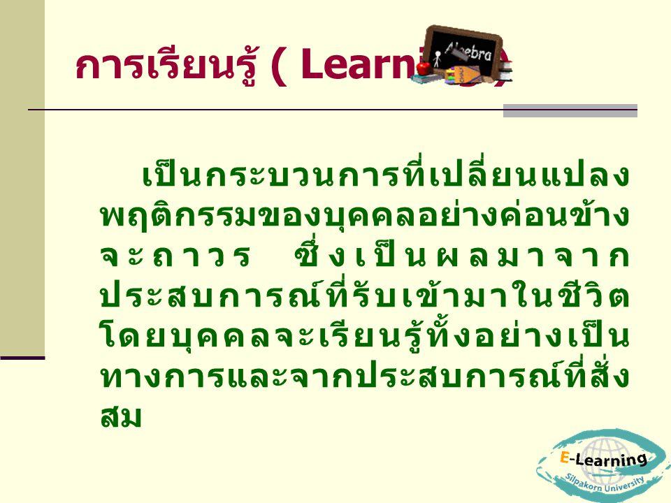 การเรียนรู้ ( Learning ) เป็นกระบวนการที่เปลี่ยนแปลง พฤติกรรมของบุคคลอย่างค่อนข้าง จะถาวร ซึ่งเป็นผลมาจาก ประสบการณ์ที่รับเข้ามาในชีวิต โดยบุคคลจะเรีย