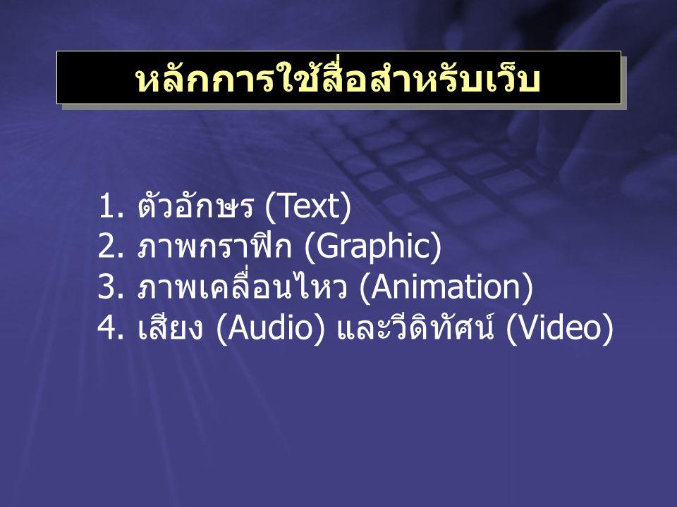 หลักการใช้สื่อสำหรับเว็บ 1.ตัวอักษร (Text) 2.ภาพกราฟิก (Graphic) 3.ภาพเคลื่อนไหว (Animation) 4.เสียง (Audio) และวีดิทัศน์ (Video)