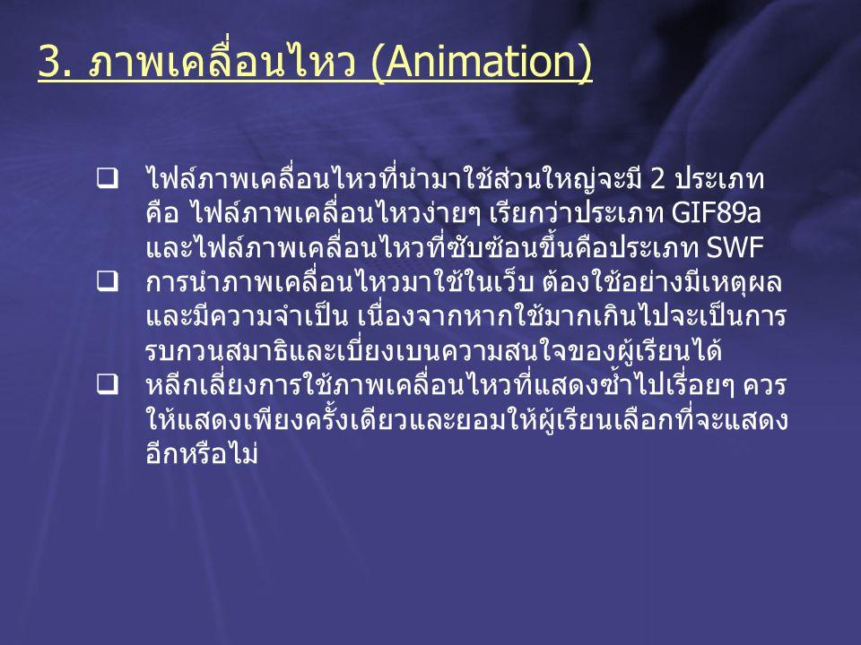 3. ภาพเคลื่อนไหว (Animation)  ไฟล์ภาพเคลื่อนไหวที่นำมาใช้ส่วนใหญ่จะมี 2 ประเภท คือ ไฟล์ภาพเคลื่อนไหวง่ายๆ เรียกว่าประเภท GIF89a และไฟล์ภาพเคลื่อนไหวท