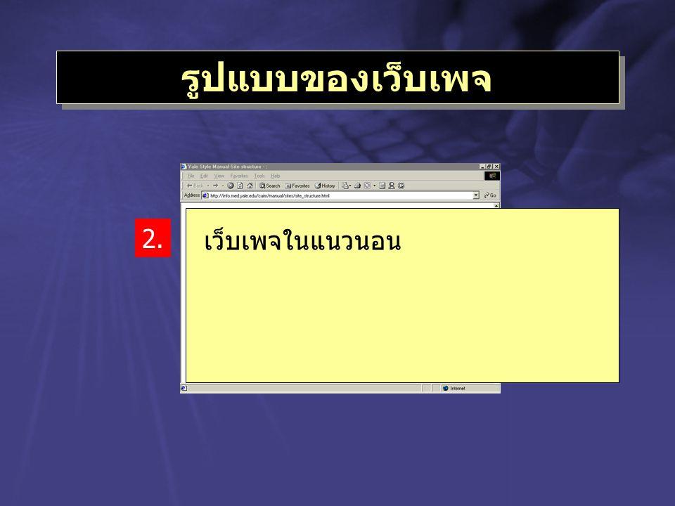 รูปแบบของเว็บเพจ เว็บเพจในแนวนอน 2.