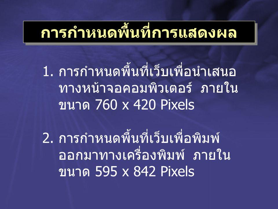 การกำหนดพื้นที่การแสดงผล 1.การกำหนดพื้นที่เว็บเพื่อนำเสนอ ทางหน้าจอคอมพิวเตอร์ ภายใน ขนาด 760 x 420 Pixels 2.การกำหนดพื้นที่เว็บเพื่อพิมพ์ ออกมาทางเคร