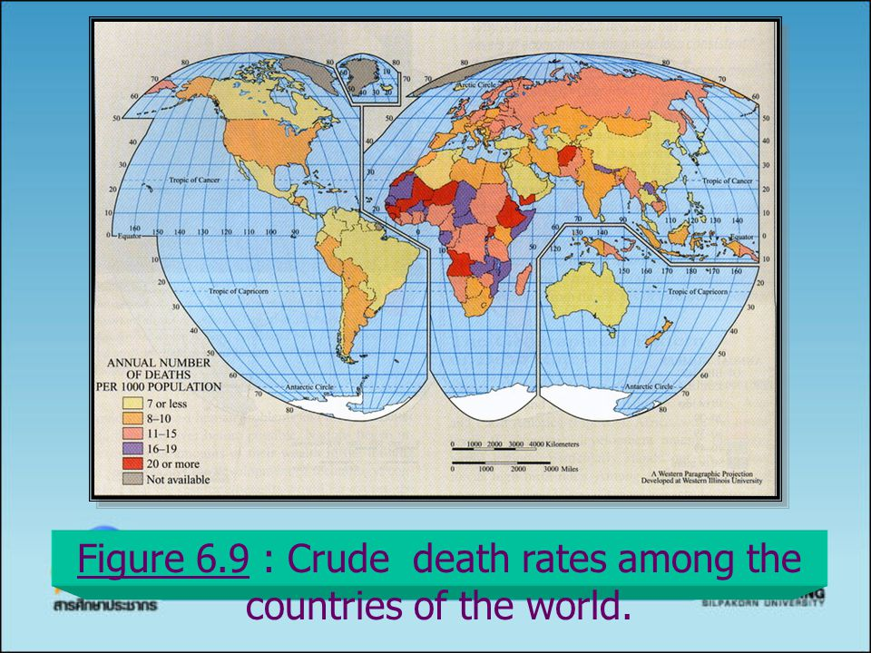 Figure 6.9 : Crude death rates among the countries of the world.