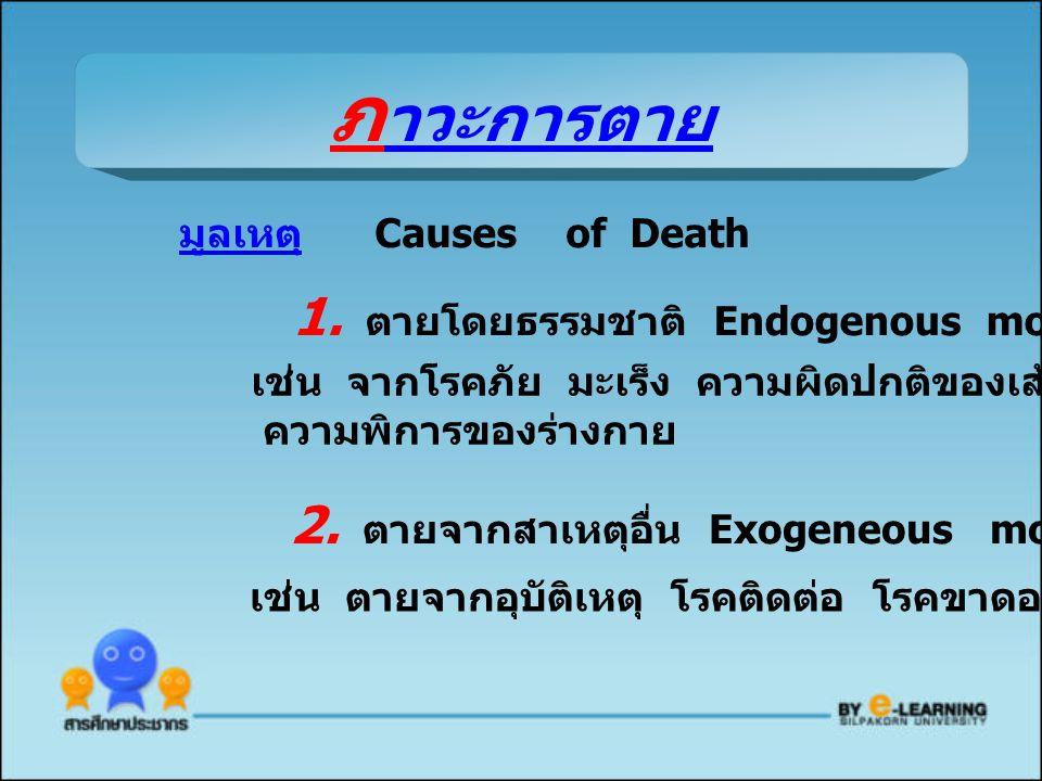 มูลเหตุ Causes of Death 1. ตายโดยธรรมชาติ Endogenous mortality เช่น จากโรคภัย มะเร็ง ความผิดปกติของเส้นเลือด ความพิการของร่างกาย 2. ตายจากสาเหตุอื่น E