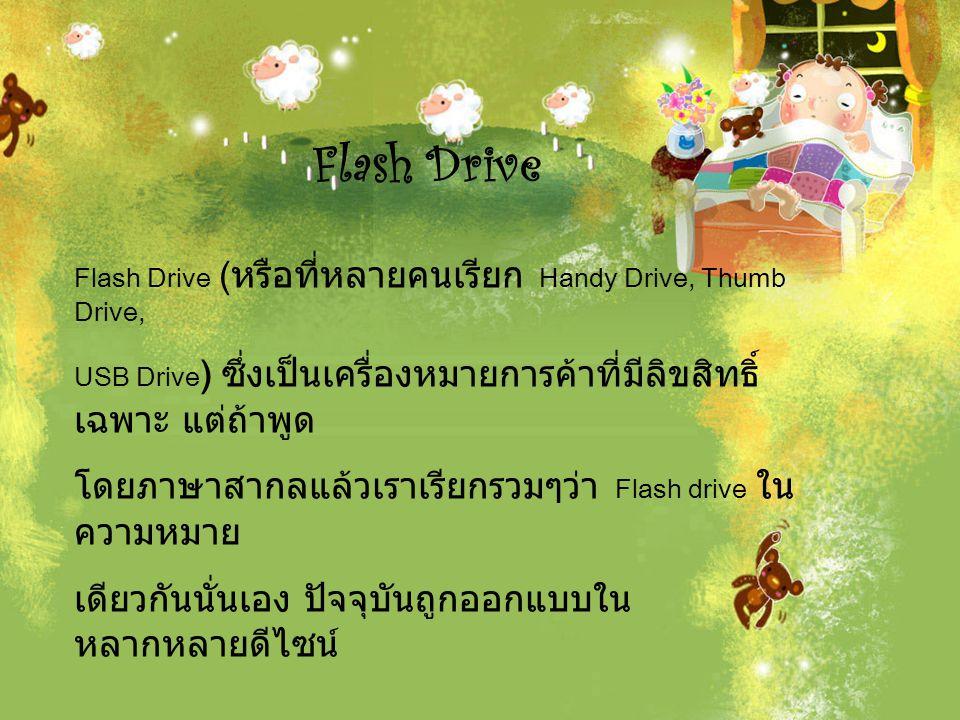 Flash Drive เป็นอุปกรณ์ที่ใช้ในการเก็บข้อมูลหรือไฟล์จาก คอมพิวเตอร์ มีขนาดเล็ก และน้ำหนักเบา สะดวกในการพกพาติดตัว แต่ใน ขณะเดียวกันมีความจุ สูง สามารถเก็บข้อมูลได้จำนวนมากตั้งแต่ 64 MB ถึง 32 GB และ ขนาดความจุข้อมูลก็ได้รับการพัฒนาเพิ่มขึ้นเรื่อยๆและ มีคุณสมบัติที่โดด เด่นตรงกับความต้องการของผู้ใช้งาน และมีประโยชน์ ที่สำคัญที่สุด
