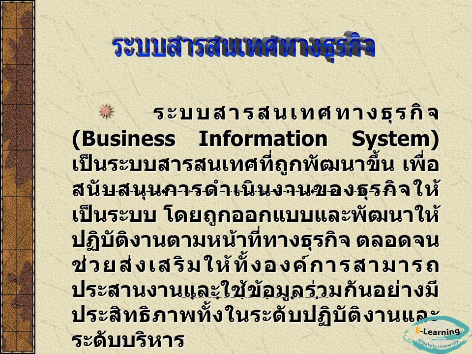  ระบบสารสนเทศทางธุรกิจ (Business Information System) เป็นระบบสารสนเทศที่ถูกพัฒนาขึ้น เพื่อ สนับสนุนการดำเนินงานของธุรกิจให้ เป็นระบบ โดยถูกออกแบบและพ