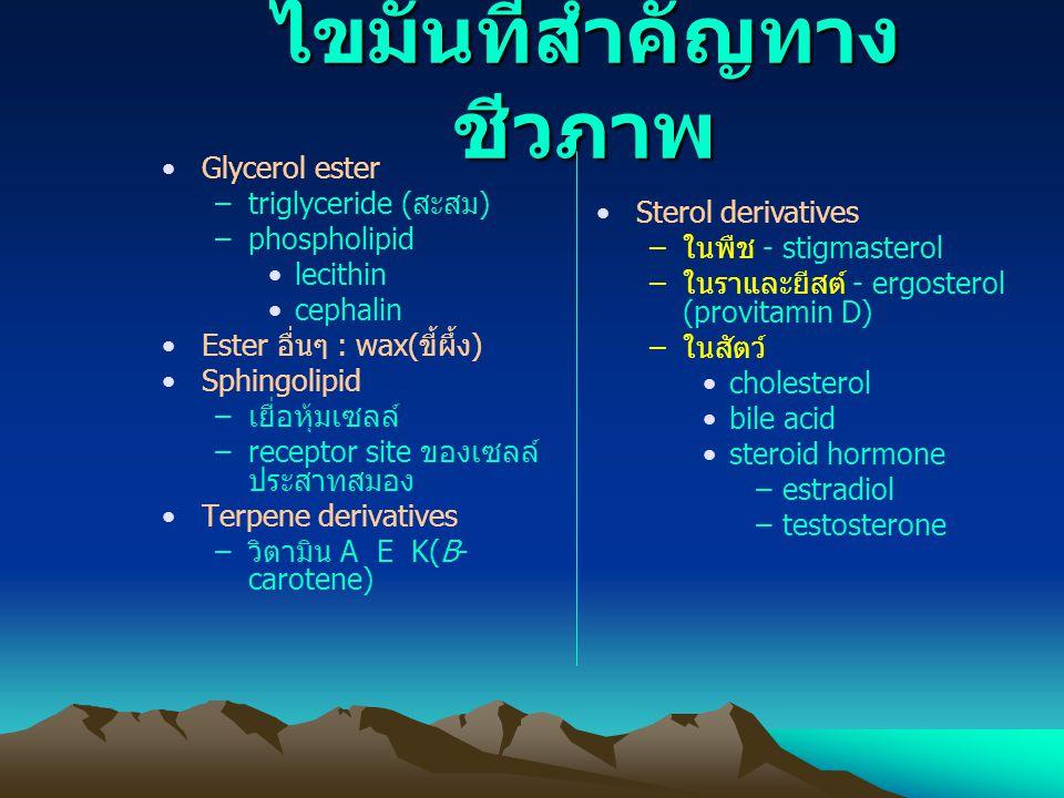 เกลือของกรดไขมัน --- สบู่ เกลือของ Na + หรือ K + จะเกิดไมเซลล์ เกลือของ Ca ++ หรือ Mg ++ จะเกิดไคลสบู่