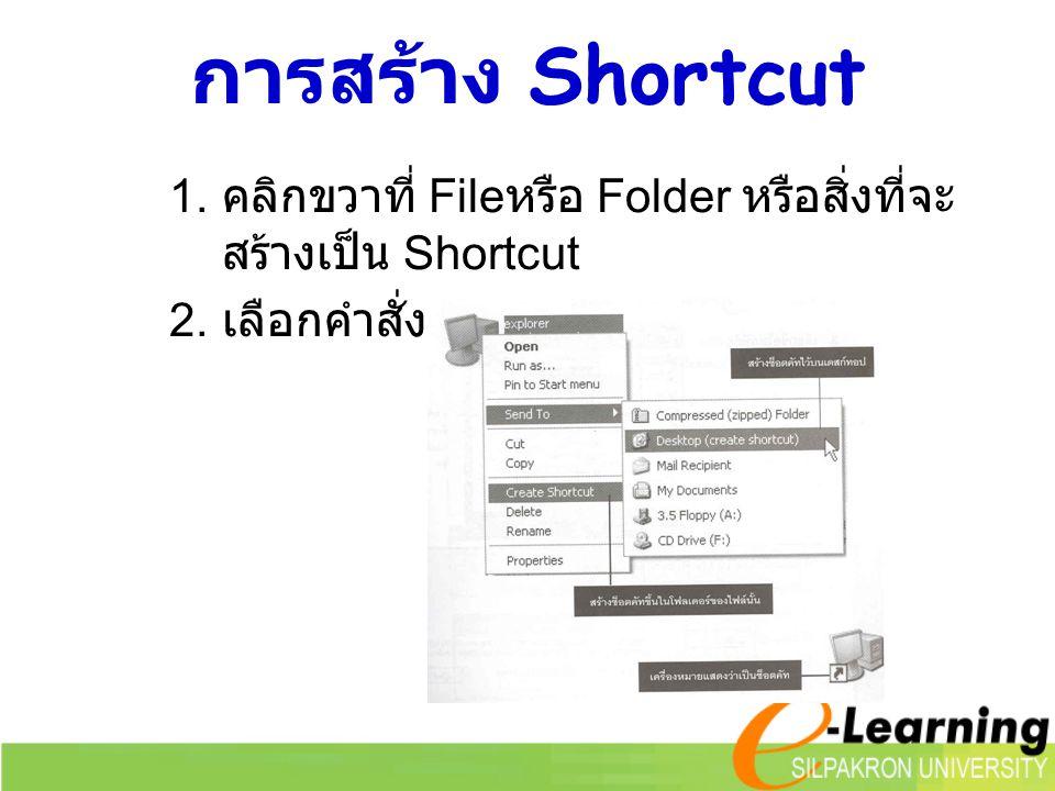 การสร้าง Shortcut 1. คลิกขวาที่ File หรือ Folder หรือสิ่งที่จะ สร้างเป็น Shortcut 2. เลือกคำสั่ง