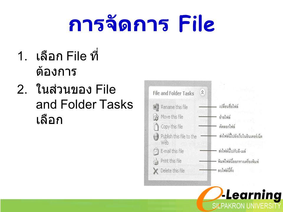 การโอนย้ายหรือคัดลอก File หรือ Folder 1.เลือก File หรือ Folder ที่ต้องการจะ โอนย้ายหรือคัดลอก 2.