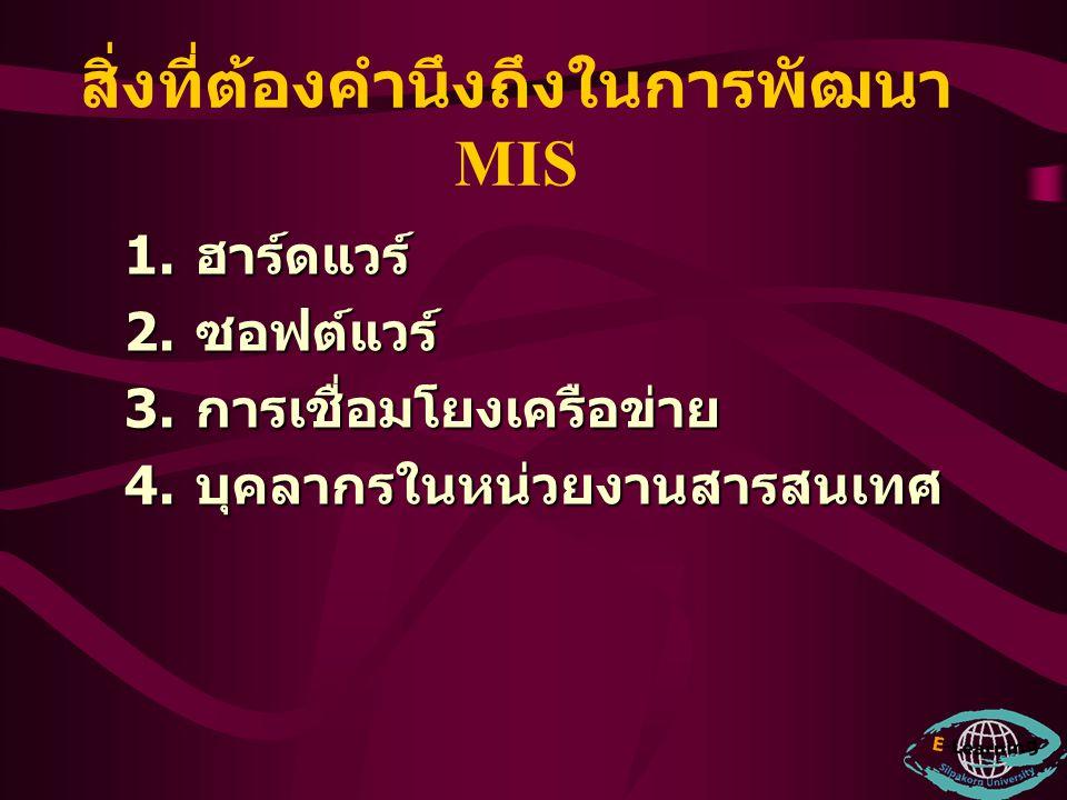 ความเสี่ยงในการเลือก โครงการ MIS 1.