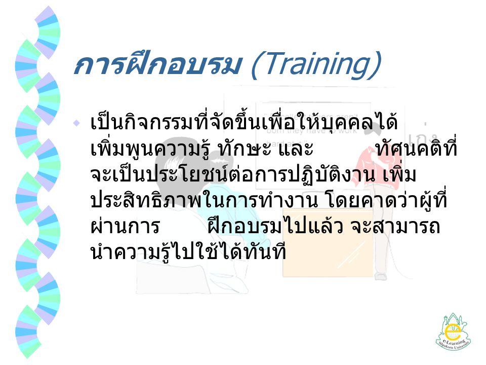 การฝึกอบรม (Training)  เป็นกิจกรรมที่จัดขึ้นเพื่อให้บุคคลได้ เพิ่มพูนความรู้ ทักษะ และ ทัศนคติที่ จะเป็นประโยชน์ต่อการปฏิบัติงาน เพิ่ม ประสิทธิภาพในก