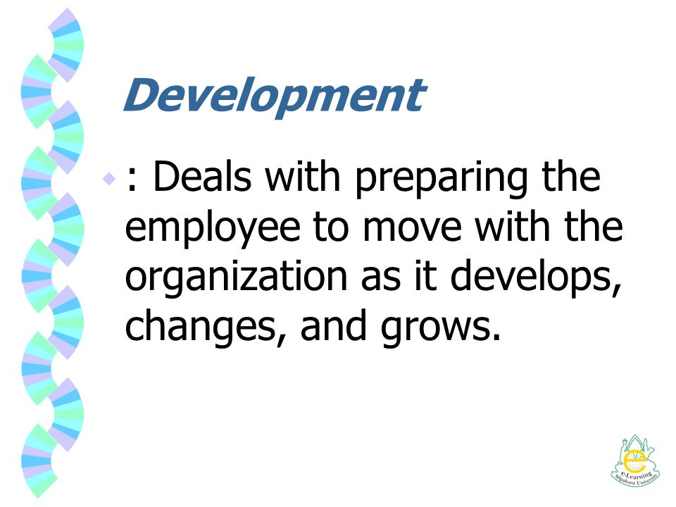 Development  : Deals with preparing the employee to move with the organization as it develops, changes, and grows.