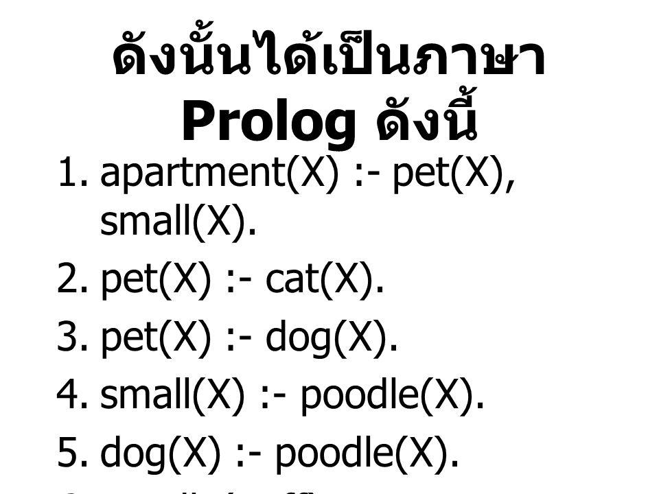 ดังนั้นได้เป็นภาษา Prolog ดังนี้ 1.apartment(X) :- pet(X), small(X).