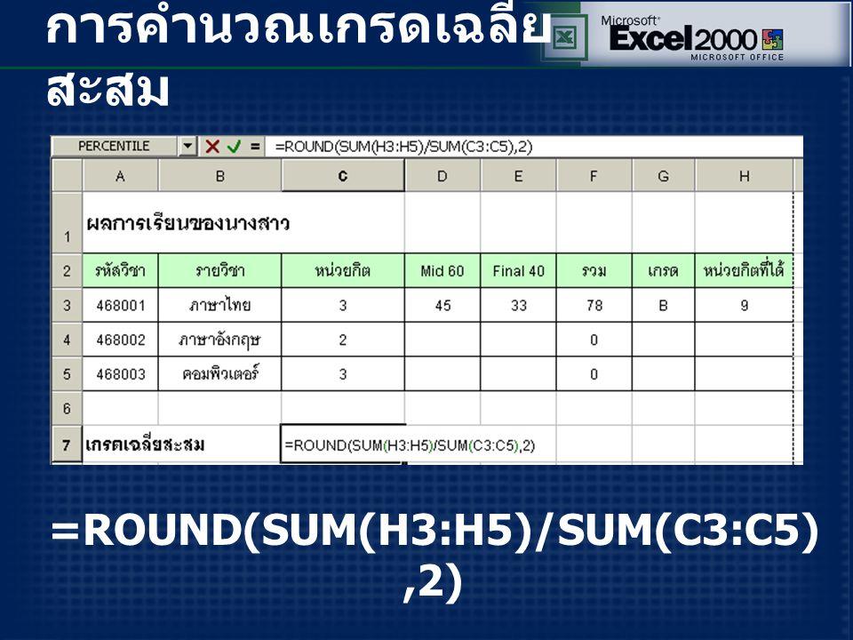 การคำนวณเกรดเฉลี่ย สะสม =ROUND(SUM(H3:H5)/SUM(C3:C5),2)
