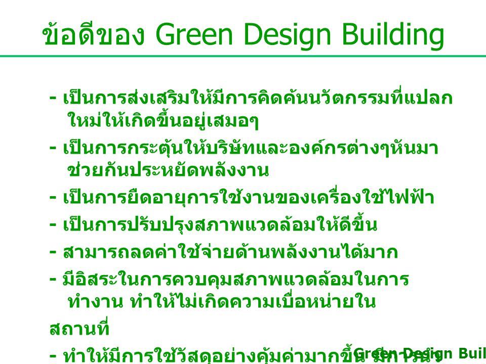 - ในประเทศไทยยังไม่เป็นที่นิยม เนื่องจากไม่มี ความรู้ความเข้าใจเกี่ยวกับอาคารสีเขียว - มีต้นทุนในการวางแผน การออกแบบ และการ ก่อสร้างสูง - ต้องอาศัยความรับผิดชอบ และการมีจิตสำนึกของ บุคคล ซึ่งเป็นไปได้ยาก Green Design Building ข้อด้อยของ Green Design Building