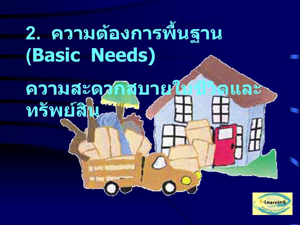 2. ความต้องการพื้นฐาน (Basic Needs) ความสะดวกสบายในชีวิตและ ทรัพย์สิน