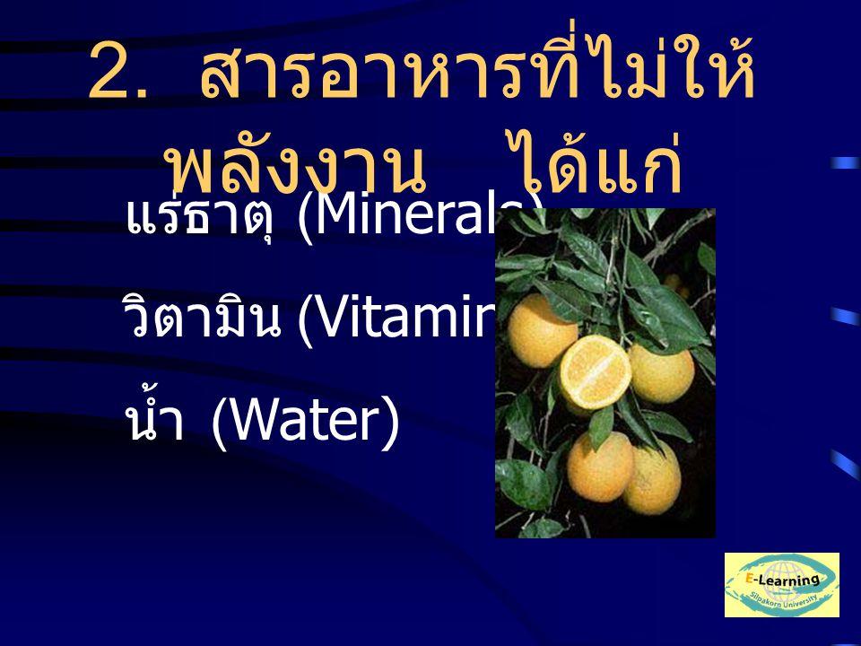 แร่ธาตุ (Minerals) วิตามิน (Vitamin) น้ำ (Water) 2. สารอาหารที่ไม่ให้ พลังงาน ได้แก่