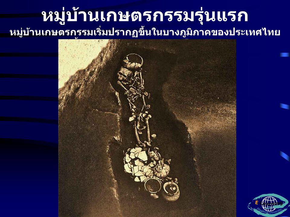 สรุปพัฒนาการของ วัฒนธรรม สมัยก่อนประวัติศาสตร์ใน ประเทศไทย แม้ว่าเรายังพบฟอสซิลของบรรพบุรุษ มนุษย์รุ่นแรกๆที่มีอายุนับแสนๆปีมาแล้วใน ประเทศไทยน้อยมาก แต่ก็ได้พบเครื่องมือหินกะเทาะที่อาจเป็น ของประชากรดังกล่าว รวมทั้งยังได้พบ เครื่องมือหินของคนสมัยก่อนประวัติศาสตร์รุ่น หลังๆที่พัฒนาเป็นคนที่มีลักษณะกายภาพแบบ คนในปัจจุบัน จึงสามารถกล่าวได้ว่าพื้นที่ที่เป็นประเทศ ไทยปัจจุบันมีบรรพบุรุษมนุษย์เข้ามาอยู่อาศัย ตั้งแต่เมื่อกว่าแสนปีมาแล้ว หลังจากนั้นก็มี บรรพบุรุษมนุษย์อยู่อาศัยมาโดยตลอด