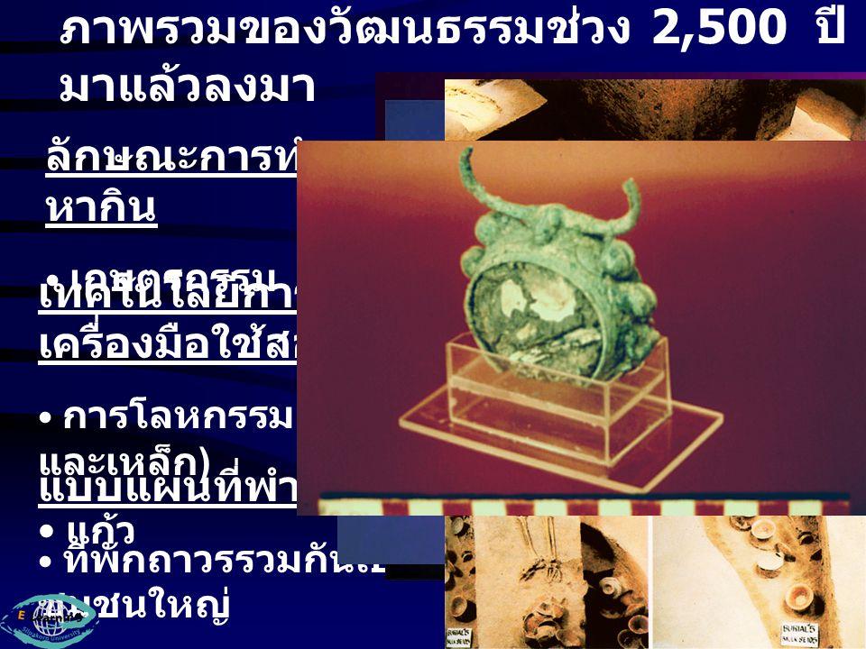 ภาพรวมของวัฒนธรรมช่วง 5,000 - 2,500 ปีมาแล้ว ลักษณะการทำมาหา กิน หาของป่า - ล่าสัตว์ และ เกษตรกรรม เทคโนโลยีการทำ เครื่องมือใช้สอย เครื่องมือหินขัด ภาชนะดินเผา เครื่องมือสำริด แบบแผนที่พำนัก อาศัย ที่พักถาวรในที่ราบ
