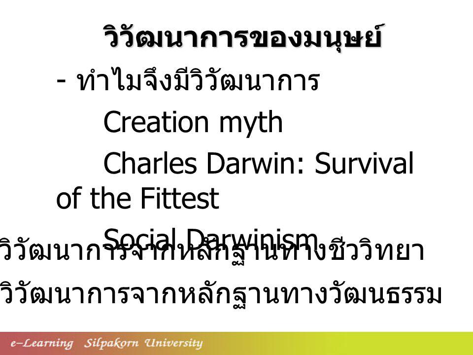- ทำไมจึงมีวิวัฒนาการ Creation myth Charles Darwin: Survival of the Fittest Social Darwinism - วิวัฒนาการจากหลักฐานทางวัฒนธรรม - วิวัฒนาการจากหลักฐานทางชีววิทยา วิวัฒนาการของมนุษย์